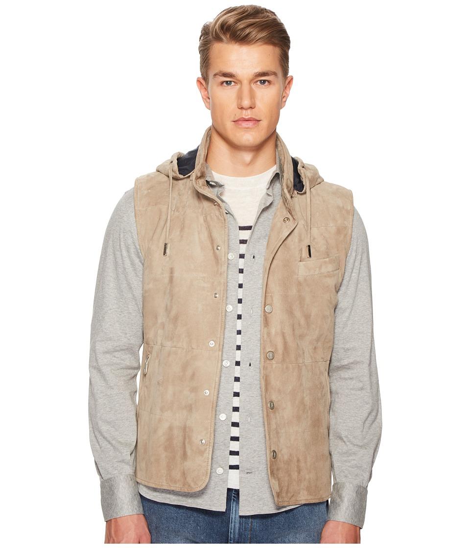 eleventy - Suede Snap Front Vest w/ Removable Hood (Sand) Mens Clothing