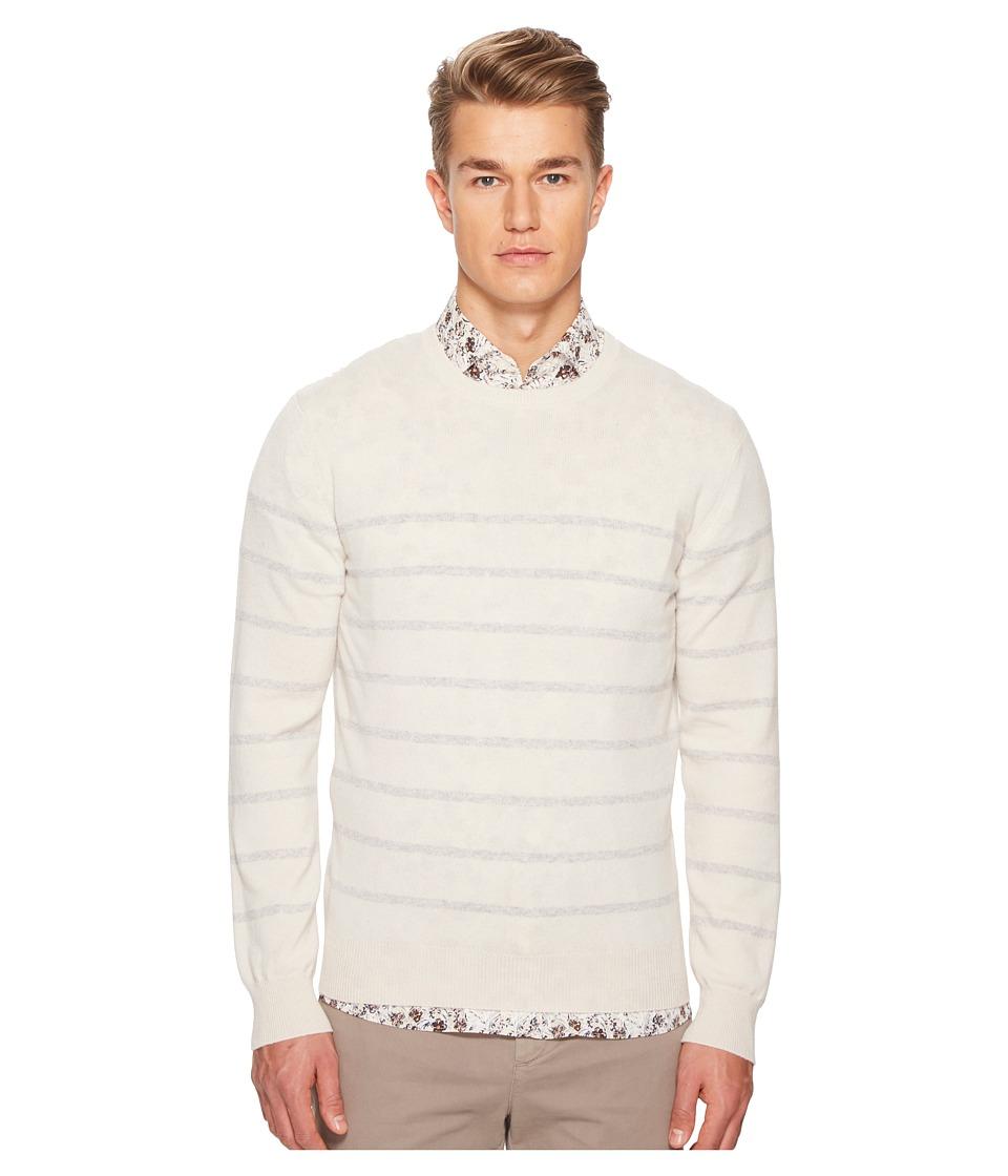 ELEVENTY Narrow Stripes Cashmere Crew Neck Sweater (Ivory...