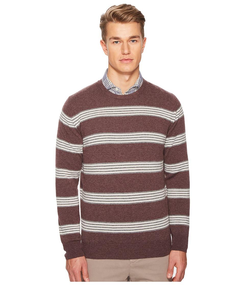 eleventy - Striped Cashmere Crew Neck Sweater (Aubergine) Mens Sweater