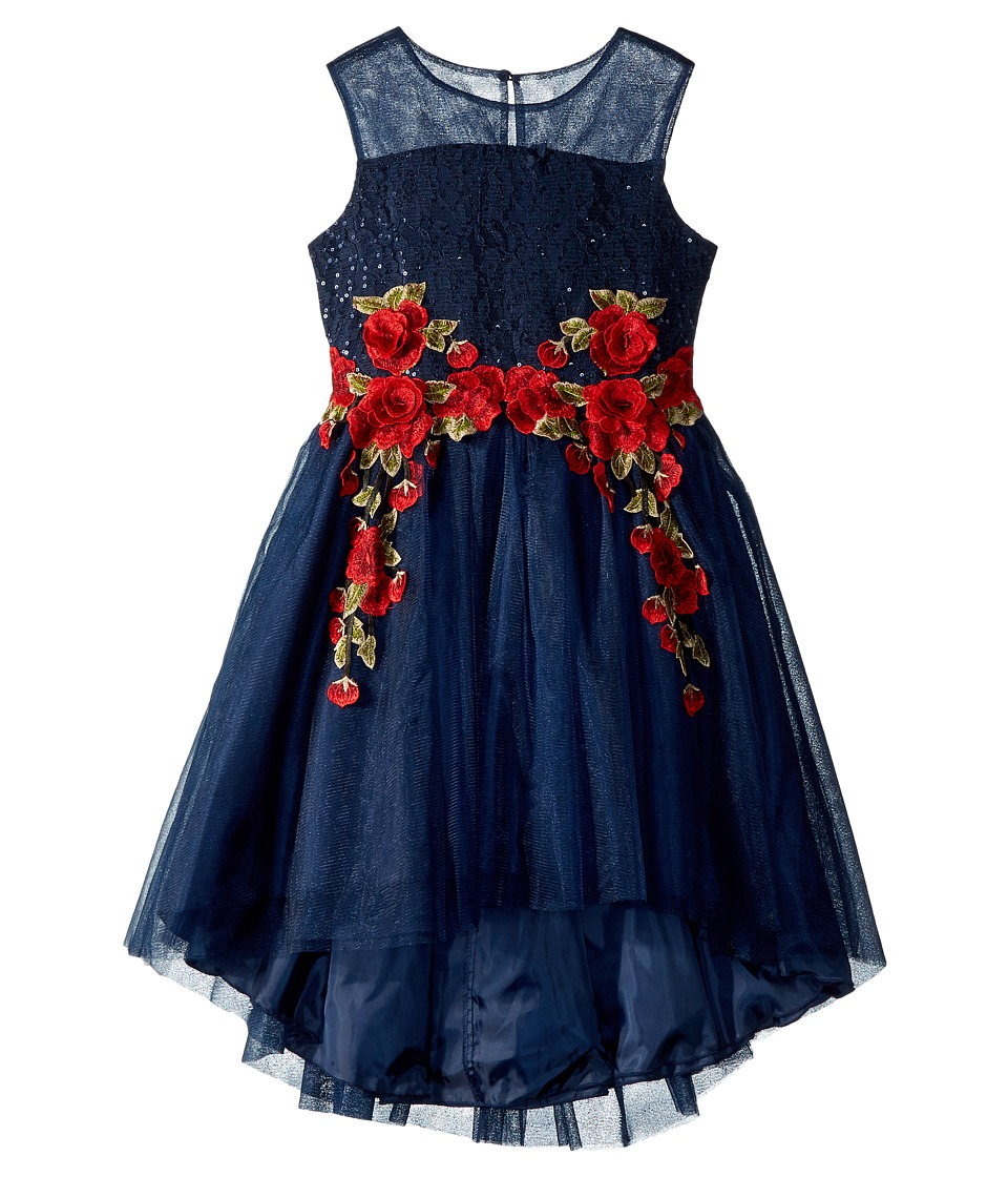 Nanette Lepore Kids - Sequin and Mesh Bodice with Embroidery on High-Low Hem Dress