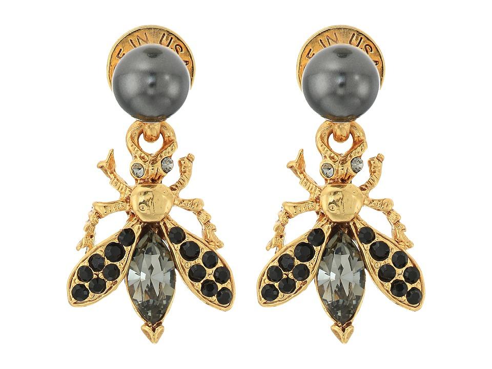 Oscar de la Renta - Bug Button C Earrings (Jet) Earring
