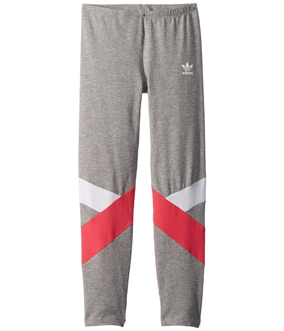 adidas Originals Kids - Leggings (Little Kids/Big Kids) (Medium Grey Heather/White/Real Pink) Girls Casual Pants
