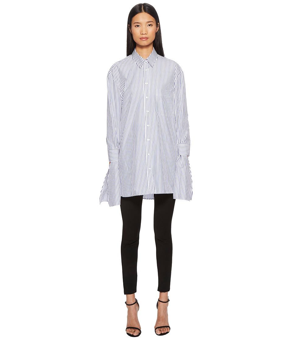 NEIL BARRETT Striped Poplin Handkerchief Shirt (Blue/Whit...