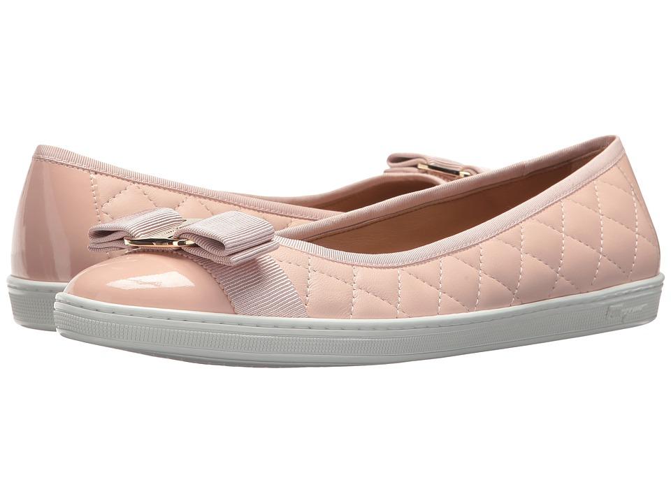 Salvatore Ferragamo Nappa Leather/Tweed Sneaker (Bon Bon Nappa Moda F) Flats