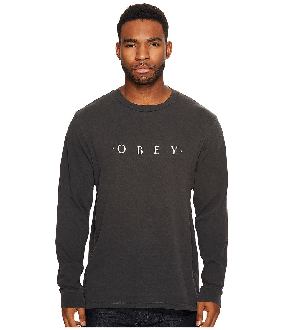 Obey Novel Obey Long Sleeve Tee (Dusty Black) Men