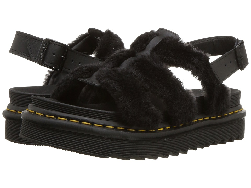 Dr. Martens Yelena Fluffy (Black Embossed Toby/Black Hydro Leather) Sandals