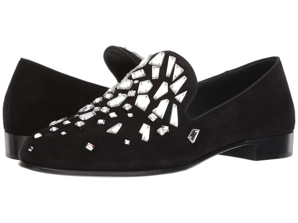 Giuseppe Zanotti - Kevin Shattered Crystal Loafer (Black) Mens Slip on  Shoes