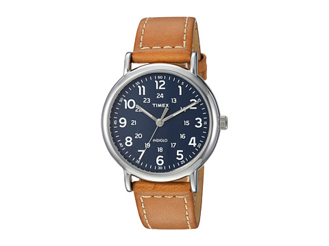 Timex Weekender 40 Leather Strap - Tan/Blue