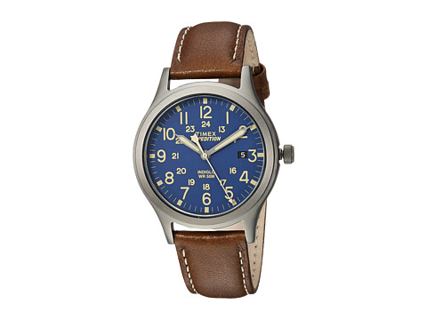 Timex Expedition Scout 36 Leather Strap - Brown/Titanium/Blue