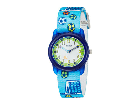 Timex Time Machines Analog Elastic Fabric Strap - Blue/Soccer