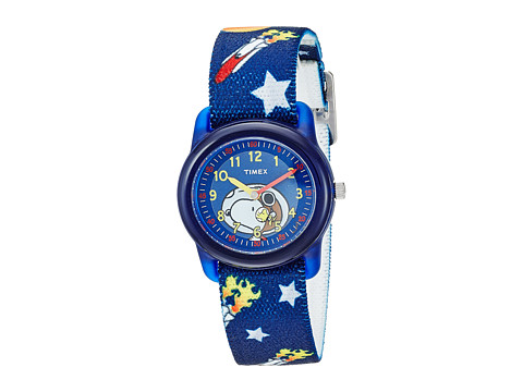 Timex Time Machines Analog X Peanuts Elastic Fabric Strap - Blue/Woodstock/Snoopy/Outer Space