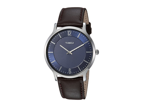 Timex Metropolitan Skyline Leather Strap - Brown/Blue