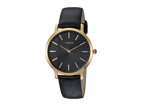 Timex Metropolitan Skyline Leather Strap - Black/Gold-Tone