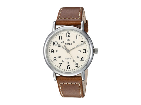 Timex Weekender 40 Leather Strap - Brown/Cream