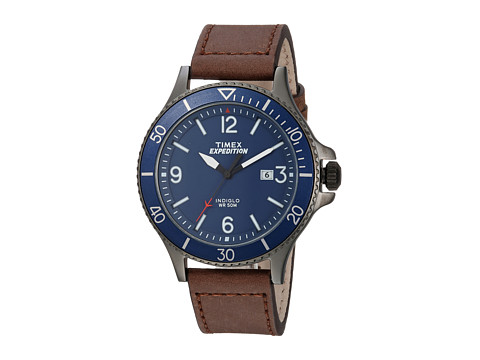 Timex Expedition Ranger Leather Strap - Brown/Gunmetal/Blue