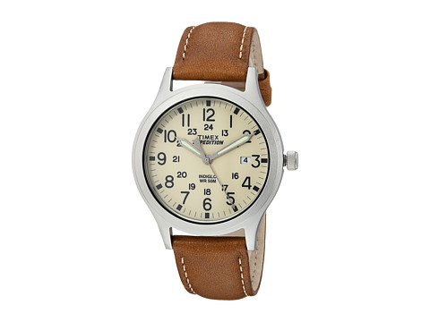 Timex Expedition Scout 36 Leather Strap - Tan/Silver/Natural