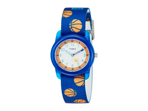 Timex Time Machines Analog Elastic Fabric Strap - Blue/Basketball