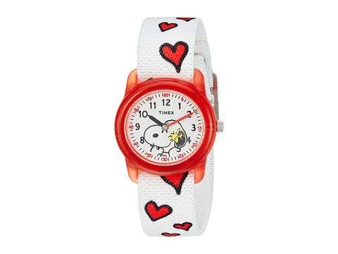 Timex Time Machines Analog X Peanuts Elastic Fabric Strap - White/Woodstock/Snoopy/Hearts
