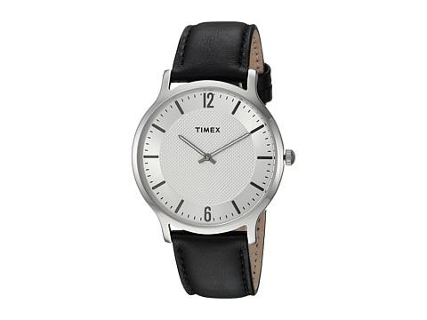 Timex Metropolitan Skyline Leather Strap - Black/Silver-Tone