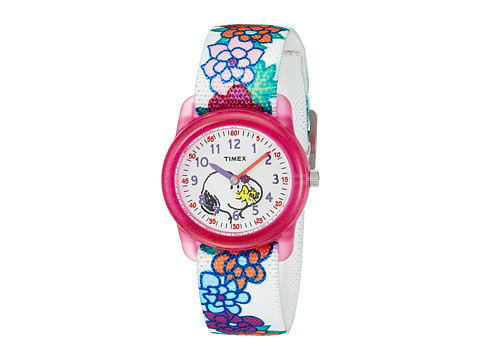 Timex Time Machines Analog X Peanuts Elastic Fabric Strap - White/Woodstock/Snoopy/Flowers