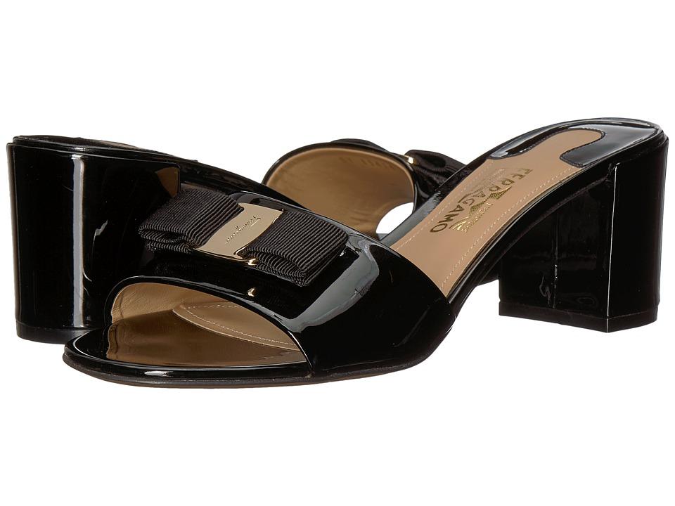 Salvatore Ferragamo Calfskin Mid-Heel Sandal (Nero Patent) High Heels