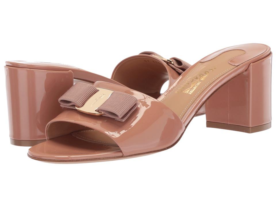 Salvatore Ferragamo Calfskin Mid-Heel Sandal (New Blush Patent) High Heels