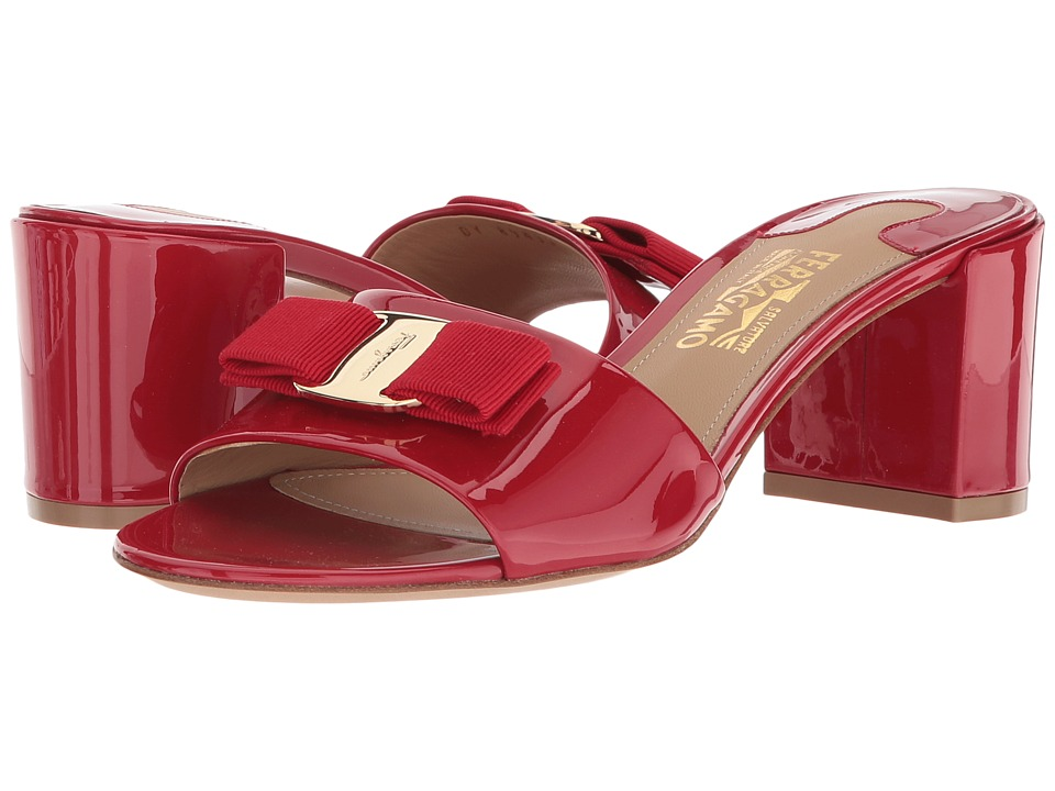 Salvatore Ferragamo Calfskin Mid-Heel Sandal (Lipstick Pa...