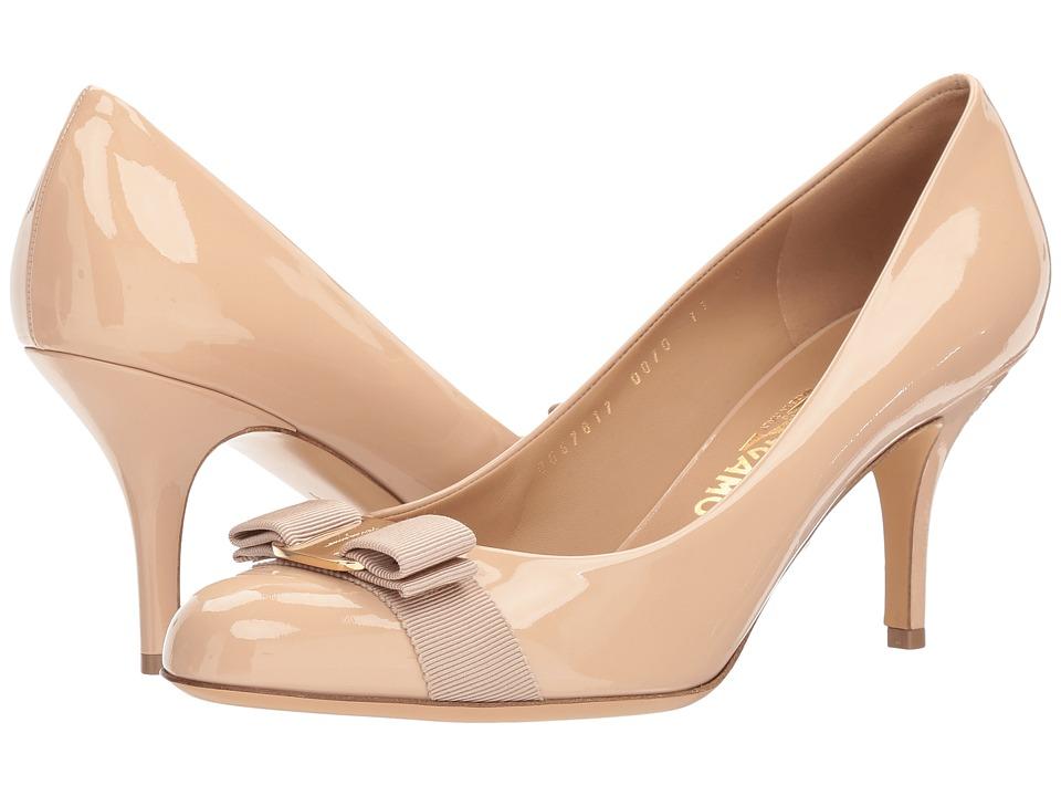 Salvatore Ferragamo Calfskin Mid-Heel Pump (New Blush Patent) High Heels