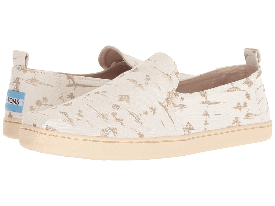 TOMS Deconstructed Alpargata (White/Gold Palms) Slip-On Shoes