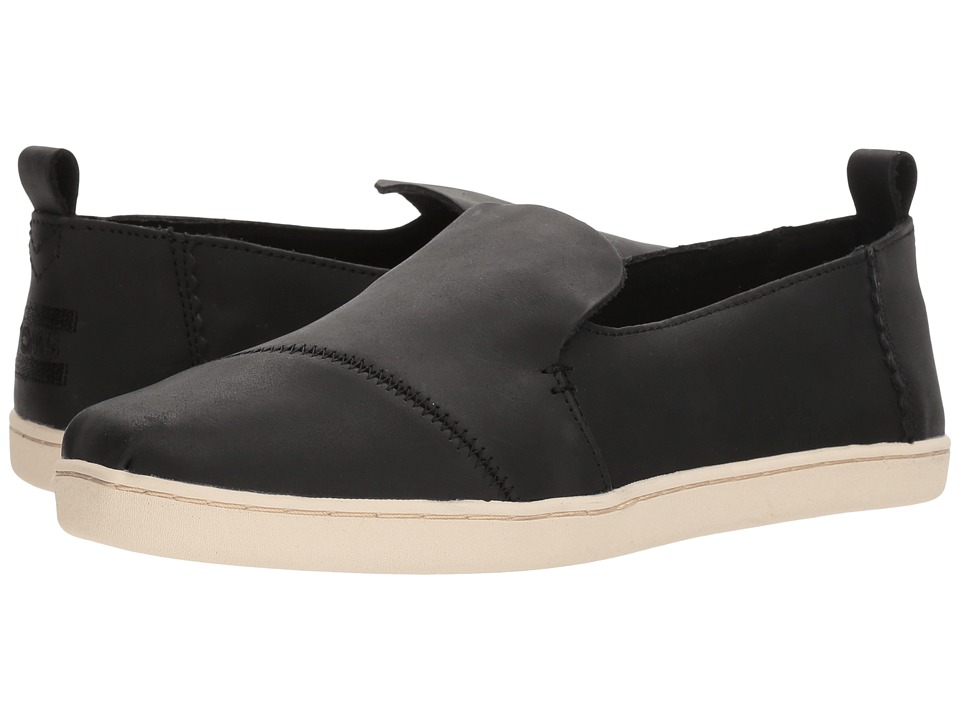 TOMS Deconstructed Alpargata (Black Leather) Slip-On Shoes