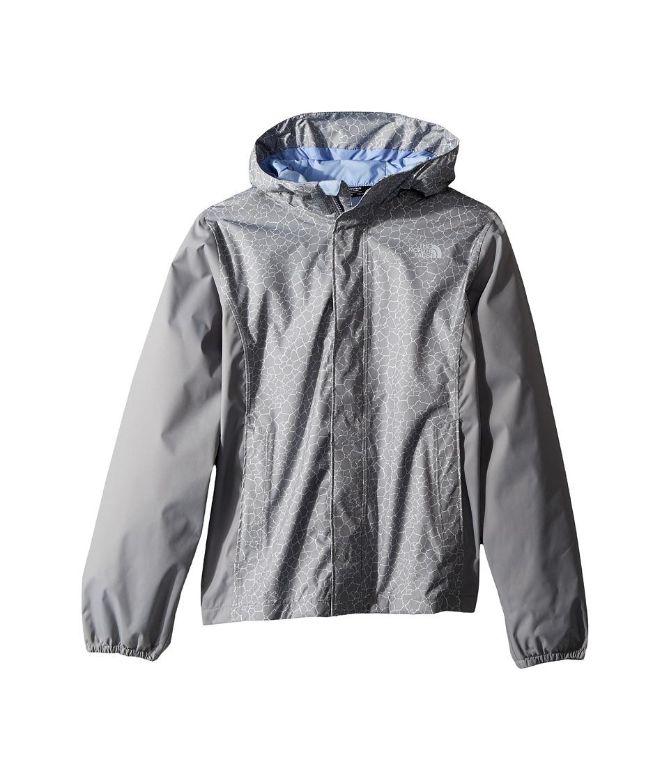 The North Face Kids Resolve Reflective Jacket (Little Kids/Big Kids) (Mid Grey Crackle Print/Mid Grey/Collar Blue) Girl
