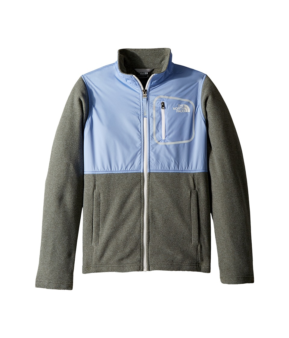 The North Face Kids - Glacier Track Jacket (Little Kids/Big Kids) (TNF Medium Grey Heather/Collar Blue/TNF White) Girls Coat