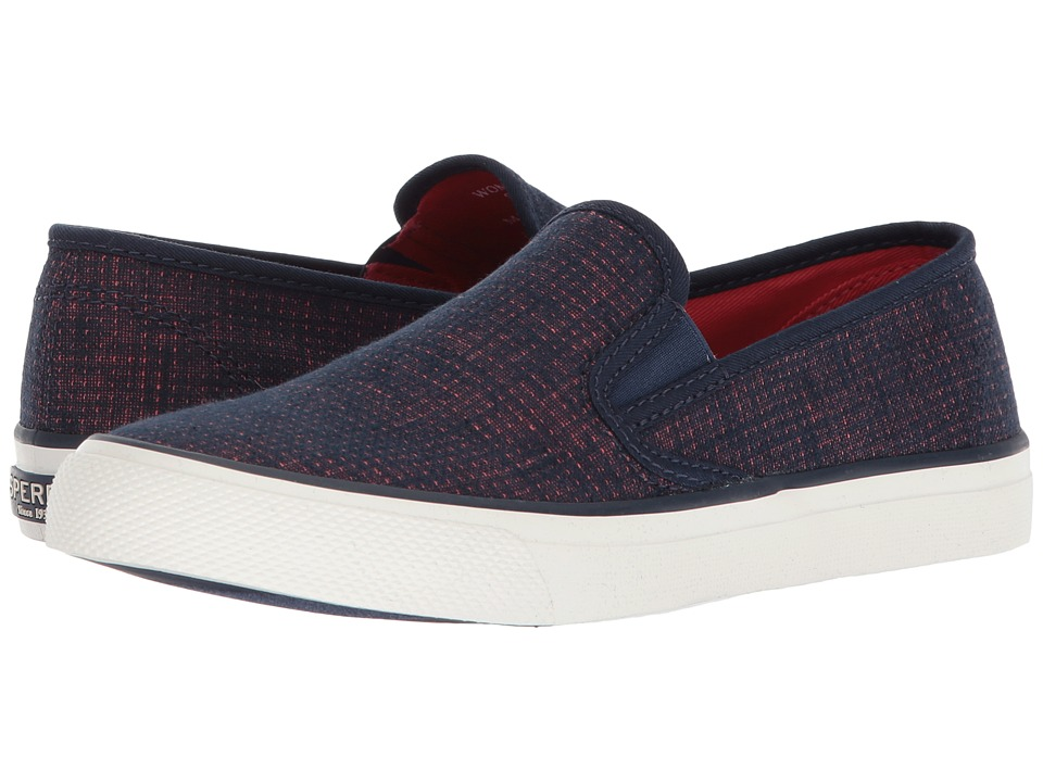 Sperry Seaside Two-Tone Linen (Navy/Coral) Women's Shoes