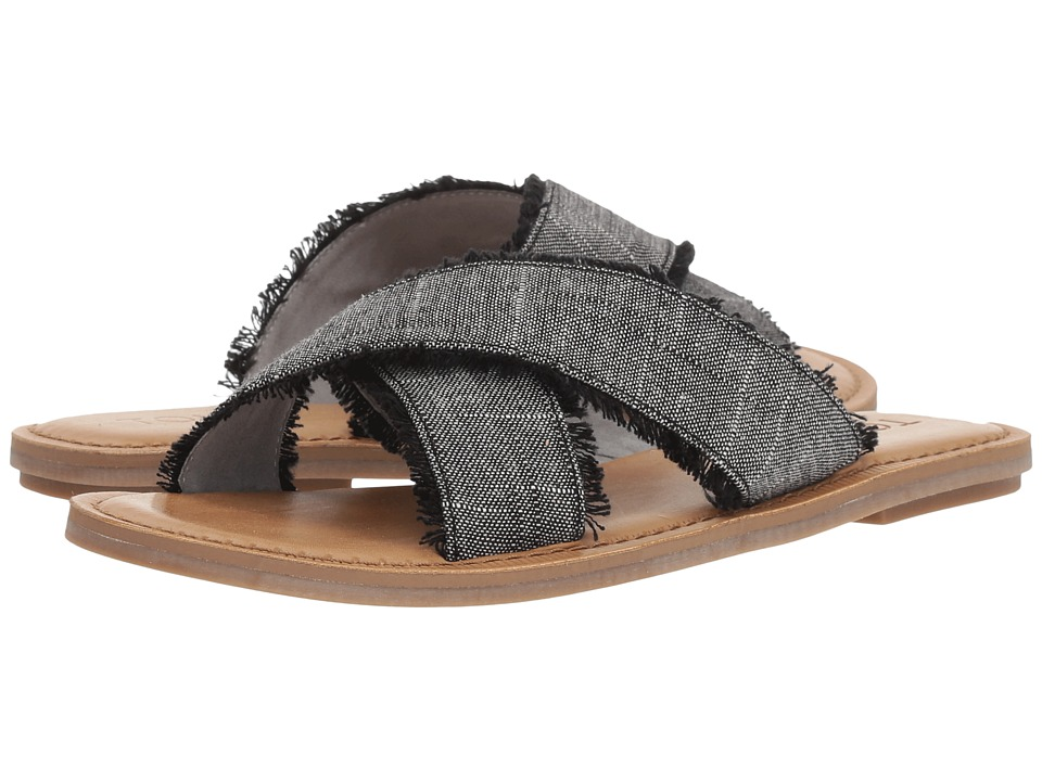 TOMS Viv (Black Textured Chambray) Sandals