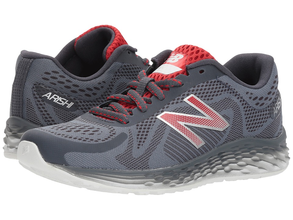 New Balance Kids KJARIv1Y (Little Kid/Big Kid) (Grey/Team Red) Boys Shoes
