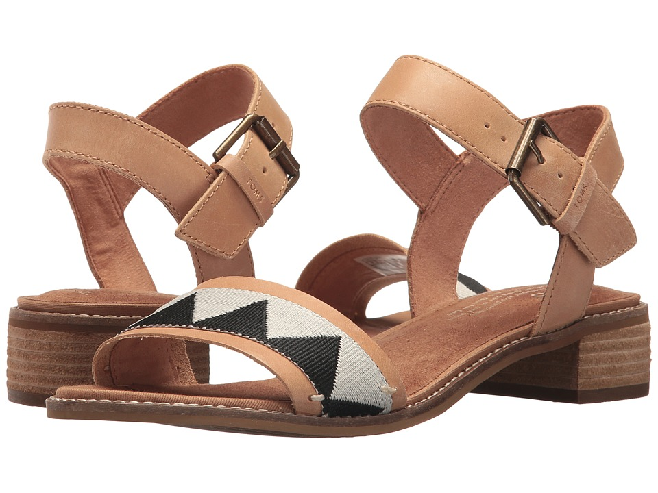 TOMS Camilia (Honey Leather/Black Tribal) Sandals