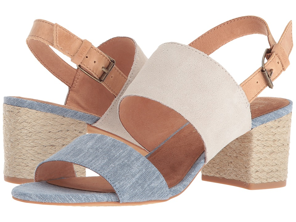 TOMS Poppy (Birch Suede/Blue Chambray) Sandals