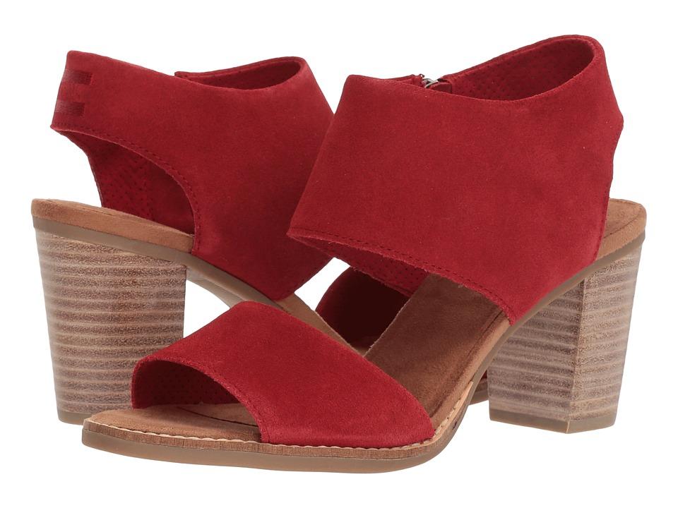 TOMS Majorca Cutout Sandal (Red Suede) Women's Shoes