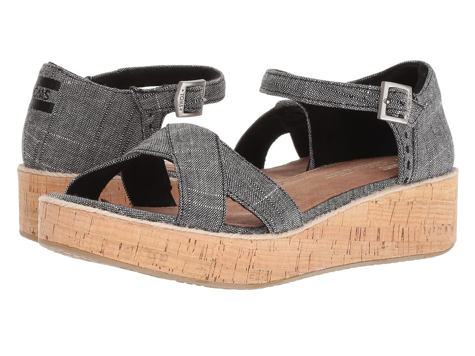 TOMS Harper (Black Textured Chambray) Sandals