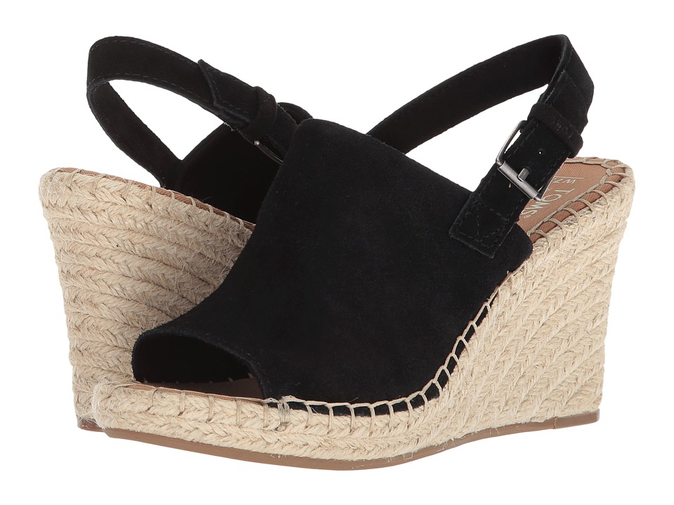 TOMS Monica (Black Suede) Wedges