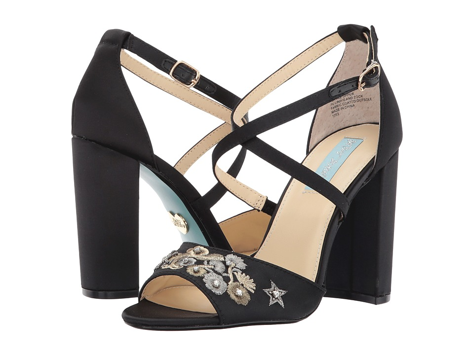 Blue by Betsey Johnson Finly (Black Satin) High Heels