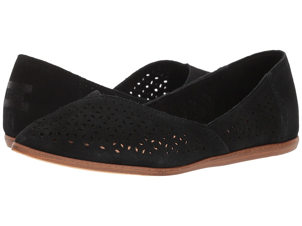 TOMS - Jutti Flat (Black Suede/Mosaic Tile) Womens Flat Shoes