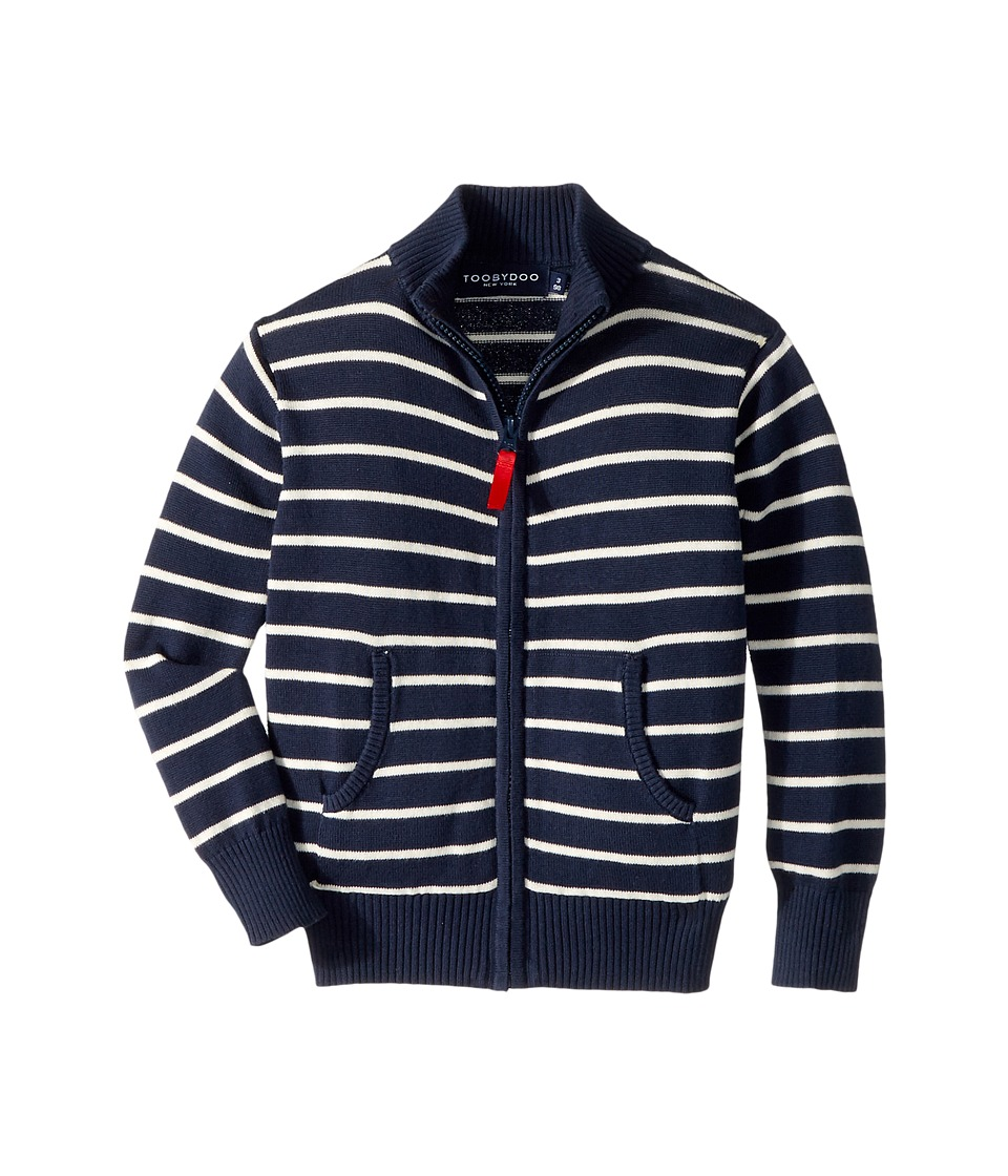 Toobydoo The Classic Stripe Zip Sweater (Infant/Toddler/Little Kids/Big Kids) (Navy/White) Boy