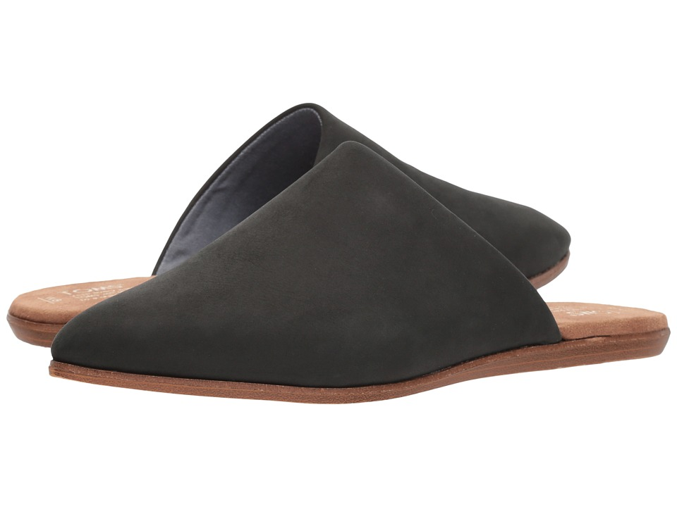 TOMS Jutti Mule (Black Leather) Slip-On Shoes