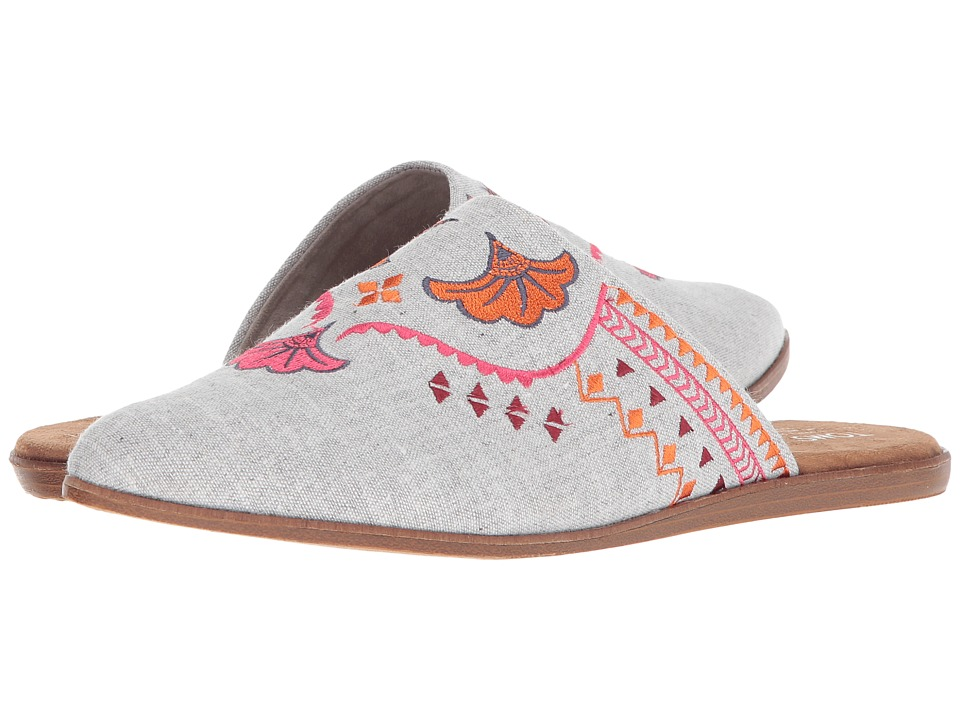 TOMS Jutti Mule (Drizzle Grey Slub Chambray/Embroidery) Slip-On Shoes