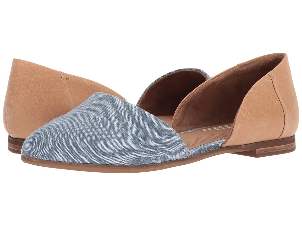 TOMS Jutti D'orsay (Honey Leather/Blue Chambray) Flats