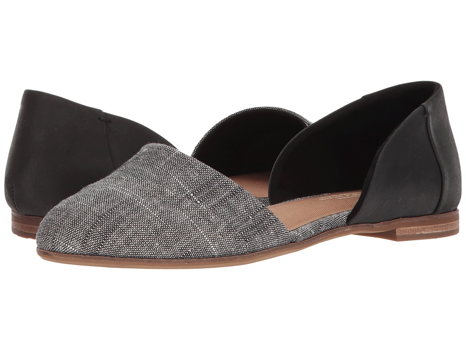 TOMS Jutti D'orsay (Black Leather/Chambray) Flats