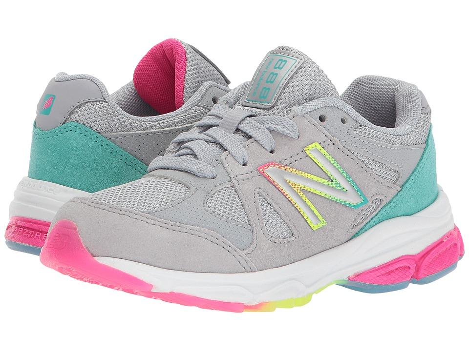 New Balance Kids KJ888v1P (Little Kid) (Silver Mink/Rainbow) Girls Shoes