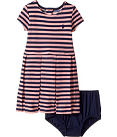 Ralph Lauren Baby - Striped Pleated Cotton Dress (Infant)