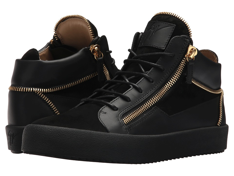 Giuseppe Zanotti - May London Mid Top Zipper Sneaker (Black) Mens Lace up casual Shoes